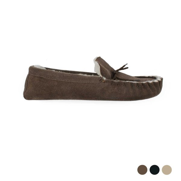 Indoor Suede Moccasins Slippers With Real Sheepkin